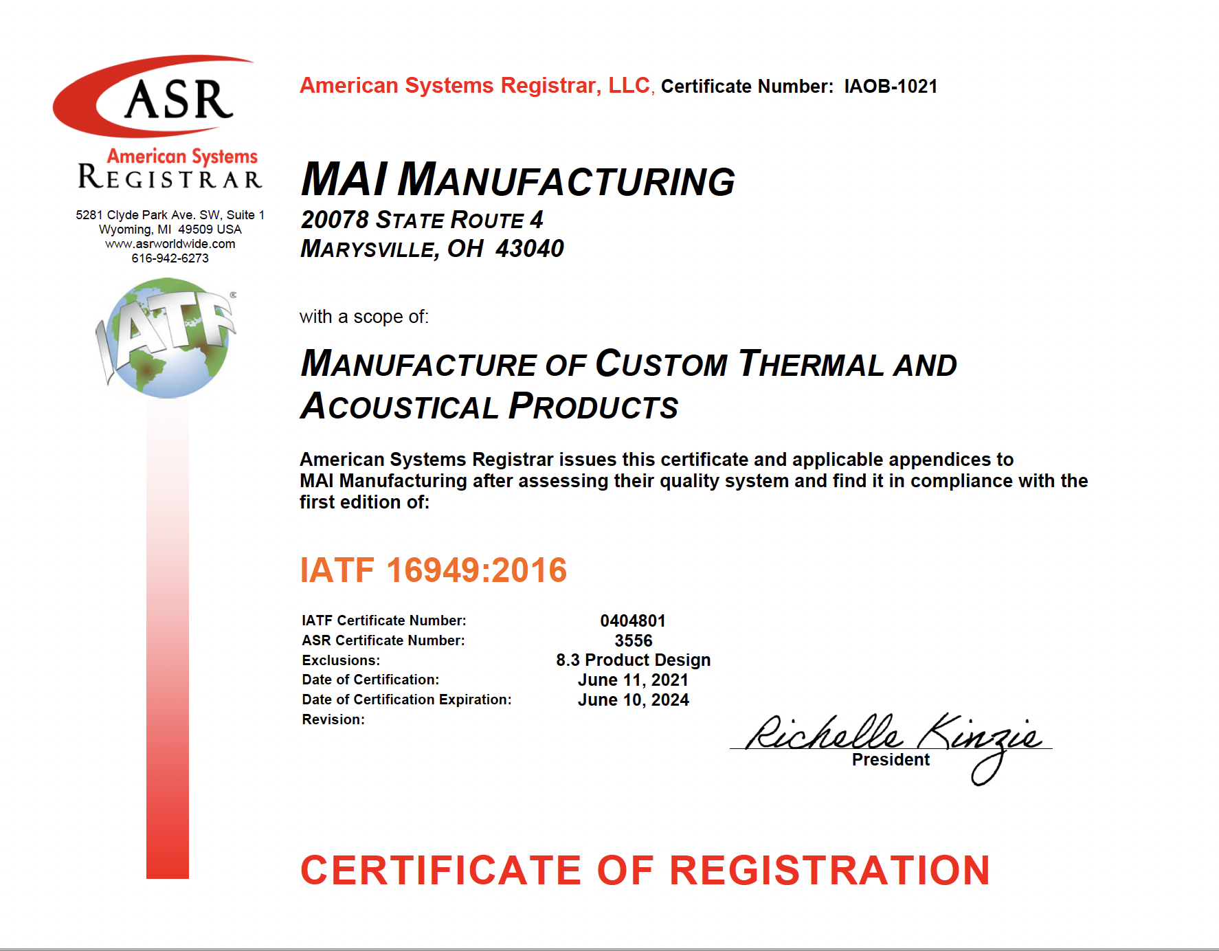 sept 2021 certificate